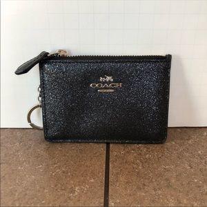 Coach black sparkly cardholder keychain